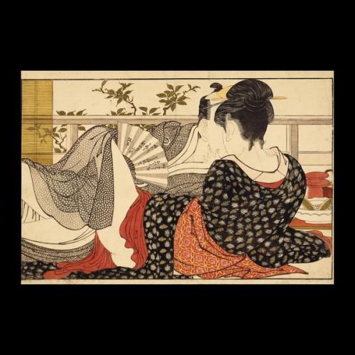 Kitagawa Utamaro :: Lovers in an upstairs room :: 1788
